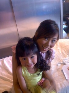 Our friends' daughter - tiffany- was also featured in a kiddy's birthday shot. You can see her pic at Novena's outlet.