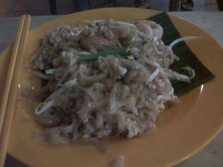 Penang Fried Kway Tiao served on banana leaf