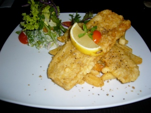My main course - Tempura Fish & Chips (loved the side salad!)